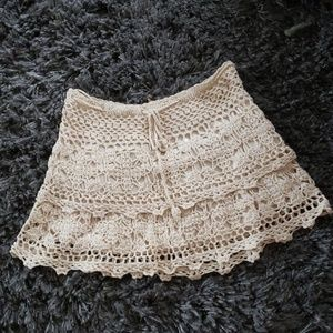 Boho crochet short skirt